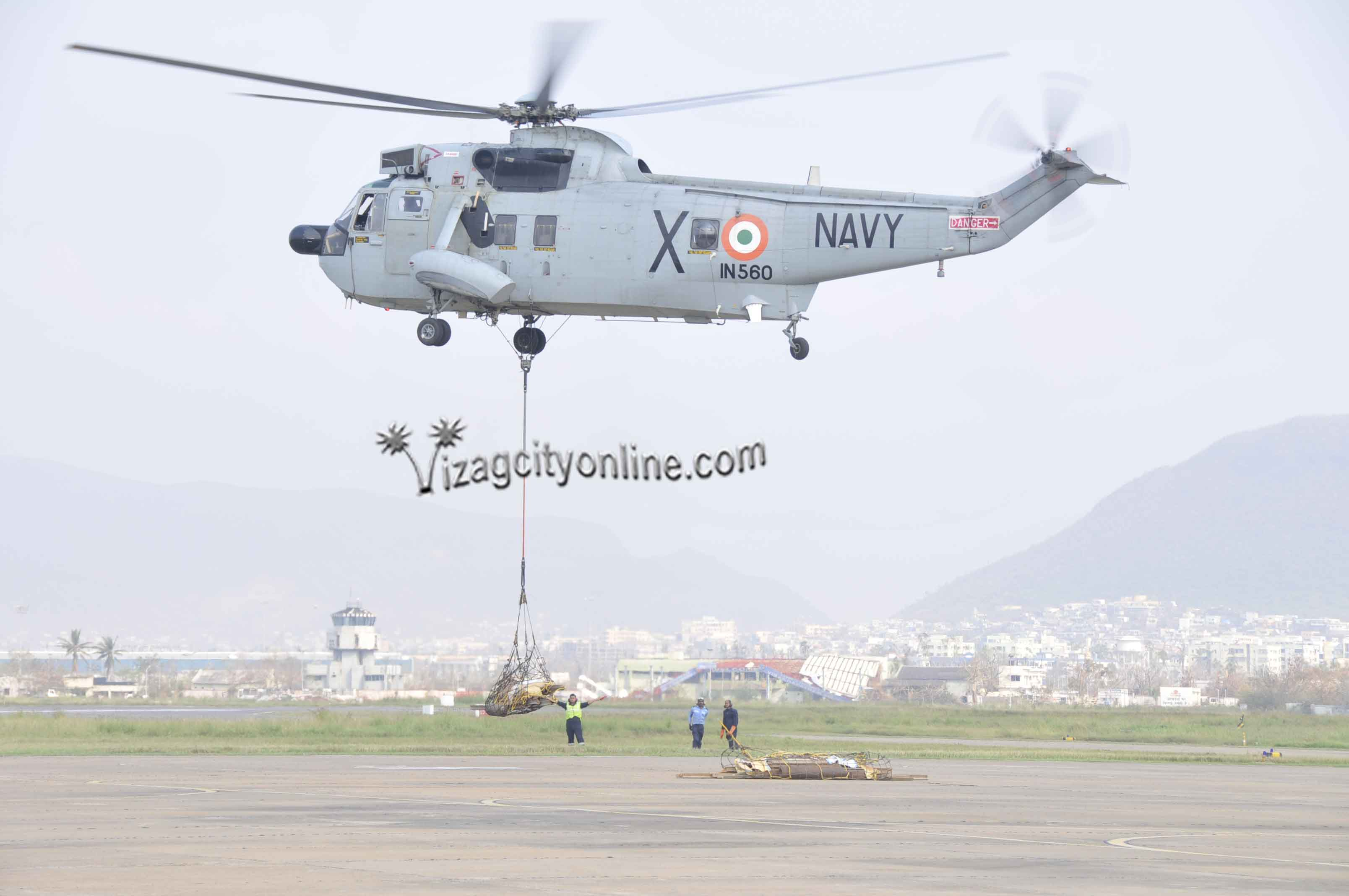 NAVY HELICOPTER AIRLIFTS SPARES FOR 132 KV TRANSMISSION TOWER ON SIMHACHALAM HILL