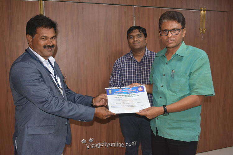 Best Employee of the Month award for Chief Ticket Inspector of Waltair Division